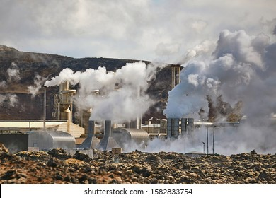 Geothermal power plant in Iceland through heat haze, Reykjanes Peninsula
