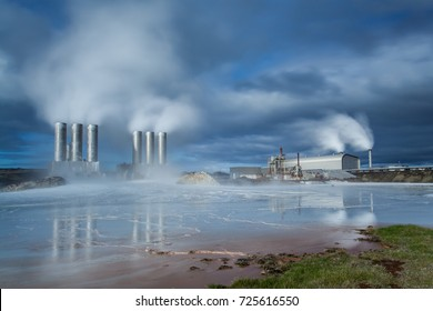 Geothermal power plant located at Reykjanes peninsula in Iceland.