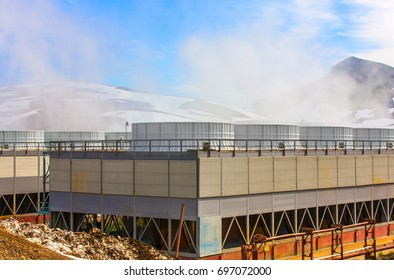 Geothermal power plant on the Mutnovsky volcano in Kamchatka