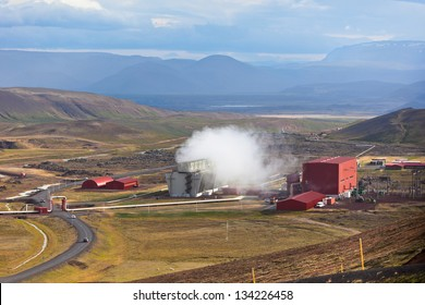 Geothermal Power Station in Iceland Mountains, Hverir