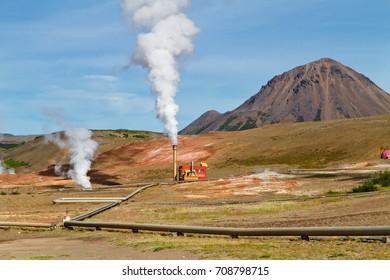 Geothermal power station. Myvatn geothermal area, northern Iceland