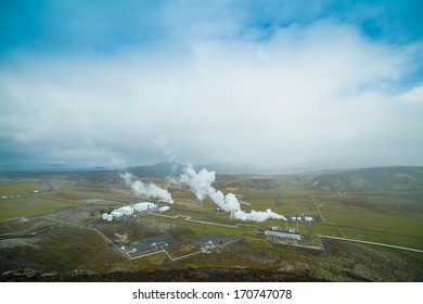 Geothermal power station in volcanic area in Iceland.