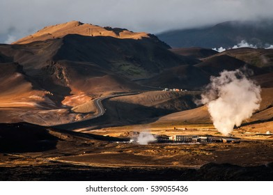 Geothermal steam area in north of Iceland, near Myvatn lake and volcanic complex Krafla