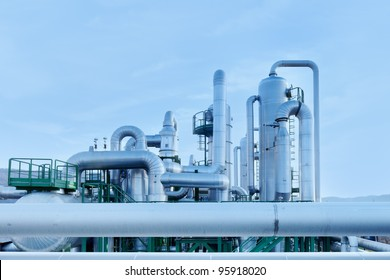 Geothermal sustainable energy. Pipes in a power plant.
