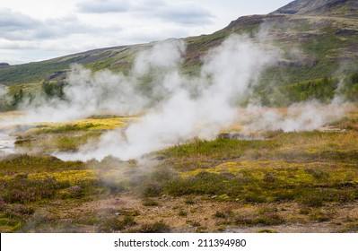 Geothermally active valley of Haukadalur