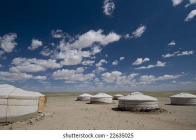 Ger camp resort in Gobi Desert, Mongolia, on a sunny day