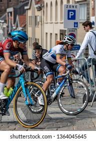 Geraardsbergen, Belgium - April 7, 2019 : Marta Bastianelli of Team Virtu Cycling riding on a cobblestone road in Geraardsbergen during Women Tour of Flanders 2019. Marta won this edition of the race