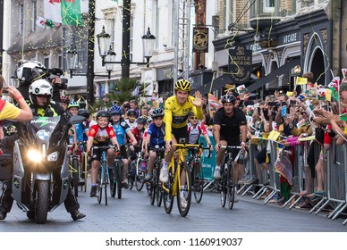 Geraint Thomas's Homecoming. 09-08-2018, Cardiff City Centre, Cardiff Wales. UK. Geraint Thomas of Team Sky returns to his home city, to celebrate with the Nation winning The Tour De France 2018.