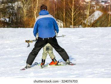GERARDMER, FRANCE - FEB 17- Closeup on beginner skier during the annual winter school holiday on Feb 17, 2015 in Gerardmer, France