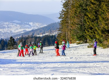 GERARDMER, FRANCE - FEB 19 - French children form ski school groups during the annual winter school holiday on Feb 19, 2015 in Gerardmer, France.