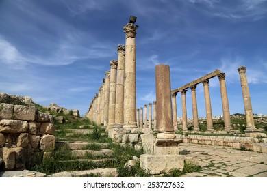 GERASA (JERASH), JORDAN- APRIL 05, 2014: Roman Columns in the Jordanian city of Jerash (Gerasa of Antiquity), capital and largest city of Jerash Governorate, Jordan