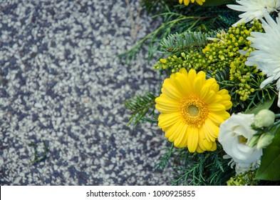 gerber wreath decoration on grave