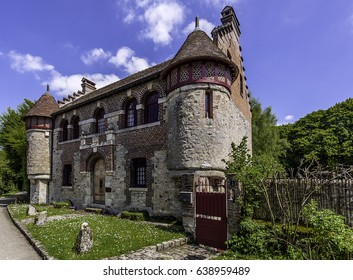 Gerberoy, a village classified as one of the most beautiful villages in France, is a French commune located in the department of Oise in the Hauts-de-France region. Small castle. FRANCE - May 2017.