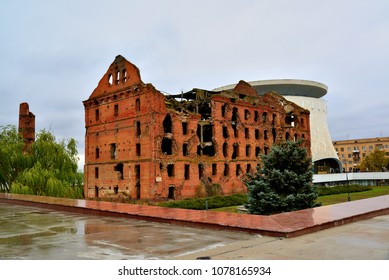 Gergardt mill - building destroyed in Battle of Stalingrad during Second World War. Volgograd, Russia