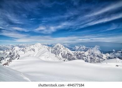 Gergeti Glacier, hiking Mt Kazbek, Caucasus, Georgia