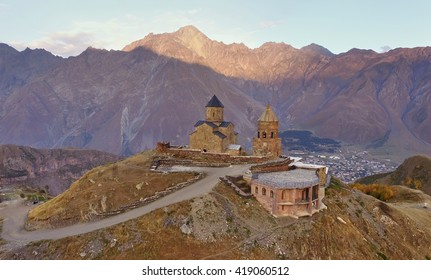 Gergeti Trinity Church on the hill near kazbek mount