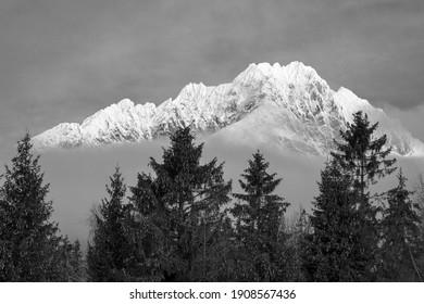 Gerlach peak (2655 elevation) over Strbske lake in High Tatras national park, Slovakia