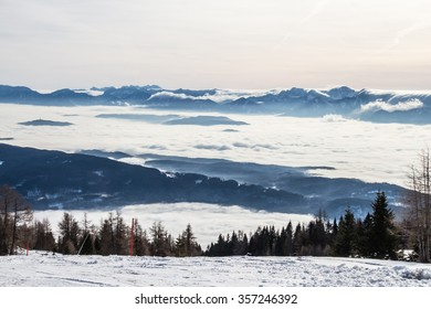 GERLITZEN, CARNIC ALPS, CARINTHIA, AUSTRIA - January 2, 2015: Fairy view of the winter snow mountain slopes.