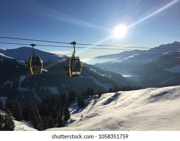 GERLOS - ZILLERTAL ARENA, AUSTRIA - March 22 2018: Winter landscape at ski area with a cabin ski lift at Gerlos, Zillertal Arena, Austria