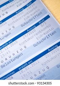 German abstract of account, deutscher Kontoauszug