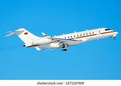 German Air Force Germany Bombardier Global 5000, Registration 14+04, Manufacturer Serial Number: 9417, Taking off from Berlin Tegel Airport with Angela Merkel onboard. Berlin, Germany, March 30, 2014