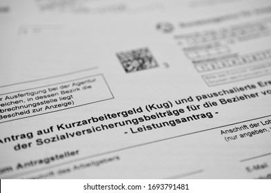 German application form short-time allowance, translated: Application for short-time allowance for employees in companies