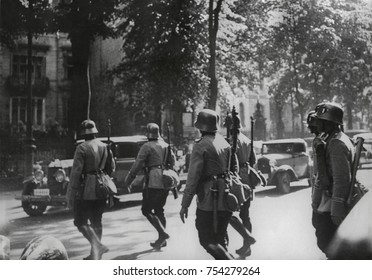 German Army patrol in Berlin during the Nazi Party purge of the Sturmabteilung leadership. June 30-July 2, 1934. Nazi Storm Troopers (Sturmabteilung, ) had become a liability to Hitler after he becam