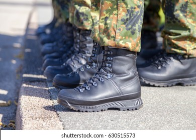 german army shoes in a line
