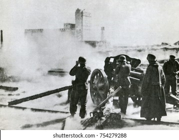 German artillery at Stalingrad in 1942. The Red Army counter-attacked with 'Operation Uranus,' in Nov. 1942, eventually surrounding the Nazi 6th Army which surrendered on Feb. 2, 1943.
