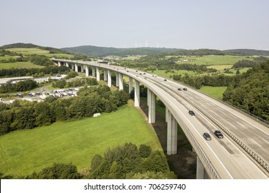 German autobahn highway viaduct bridge view from above