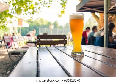 German Beer 0,5 Liter on Wooden Table Biergarten Traditional Culture Beautiful Day