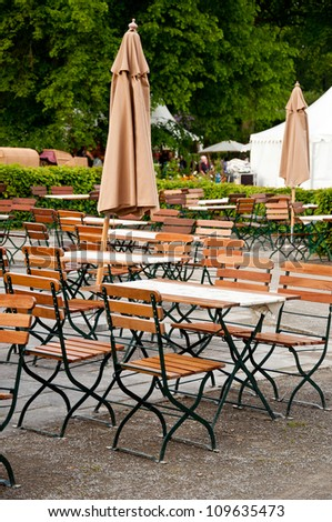 German Beer Garden Chairs Tables Sunshades Stock Photo Edit Now