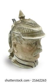 German beer mug in form of famous chancellor Otto Eduard Leopold von Bismarck (1815-1898).