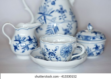 German blue and white porcelain coffee service with a traditional design