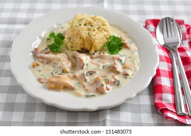 German Bread Dumplings with chanterelle mushroom sauce