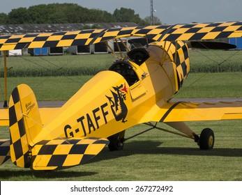 German Bucker 1930s biplane  at Breighton airfield,yorkshire,UK.taken 14/07/2013