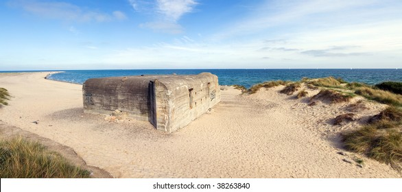 german bunker from second  world war. army defense fortification made from concrete placed on the coast in jutland in Denmark