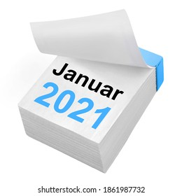 German Calendar January 2021 isolated on white background