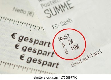 german cash sales receipt circled in red. Invoice with vat tax value. VAT rate 19 percent to 16% and 7 percent to 5%. financial / invoice - deutschland - germany. german word gespart - saved money
