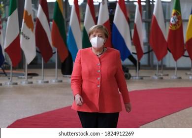 German Chancellor Angela Merkel arrives to attend the European Union leaders summit in Brussels, Belgium July 17, 2020.