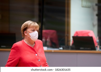 German Chancellor Angela Merkel  arrives for the second day meeting of the European Union (EU) special summit in Brussels, Belgium, on Oct. 2, 2020.