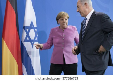 German Chancellor Angela Merkel and Israeli Prime Minister Benjamin Netanyahu are pictured during a news conference at the Chancellery on February 16, 2016 in Berlin, Germany.