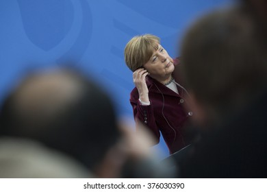 German Chancellor Angela Merkel is pictured during the press conference with Polish Prime Minister Beata Szydlo in the Chancellery in Berlin, Germany on February 12, 2016.