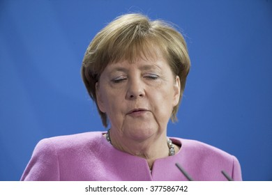 German Chancellor Angela Merkel is pictured during a news conference with Israeli Prime Minister Benjamin Netanyahu at the Chancellery on February 16, 2016 in Berlin, Germany.