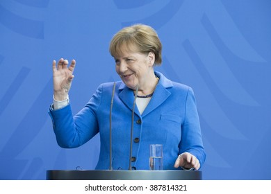 German Chancellor Angela Merkel is pictured during a news conference held with United Nations (UN) Secretary General Ban Ki-Moon at the Chancellery on March 08, 2016 in Berlin, Germany.