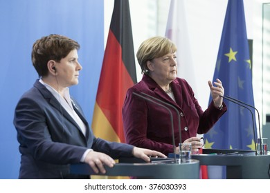 German Chancellor Angela Merkel and Polish Prime Minister Beata Szydlo are pictured during a press conference in the Chancellery in Berlin, Germany on February 12, 2016.