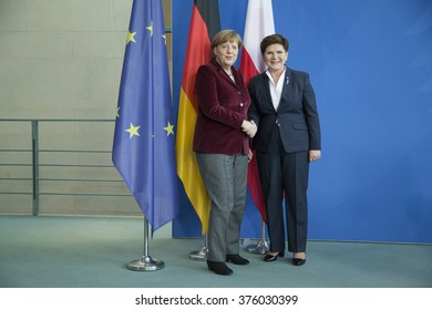German Chancellor Angela Merkel and Polish Prime Minister Beata Szydlo are pictured after a press conference in the Chancellery in Berlin, Germany on February 12, 2016.