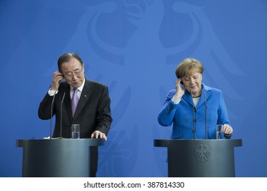 German Chancellor Angela Merkel and United Nations (UN) Secretary General Ban Ki-Moon are pictured during a news conference at the Chancellery on March 08, 2016 in Berlin, Germany.