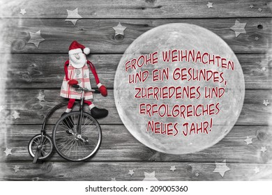 german christmas greeting card with text merry xmas and a successful happy new year
