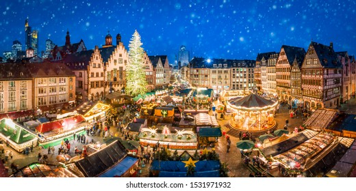 German Christmas market at the Römer square in Frankfurt am Main